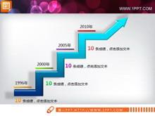 微软风格折线统计图PPT素材下载