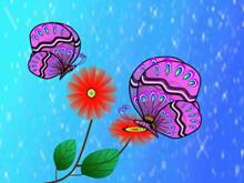 卡通风格蝴蝶花朵PPT模板