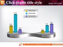 立体PPT柱状图表模板下载