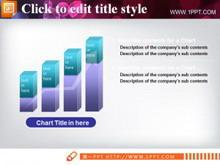 立体商务柱形图PPT模板下载