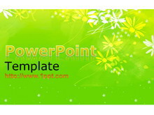 绿色背景花朵PPT模板下载