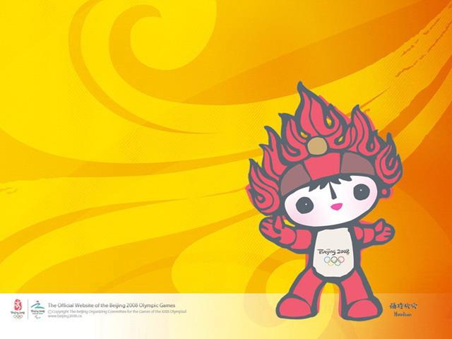 2008北京奥运会主题幻灯片模板,以福娃吉祥物作为主体,动感卡通ppt