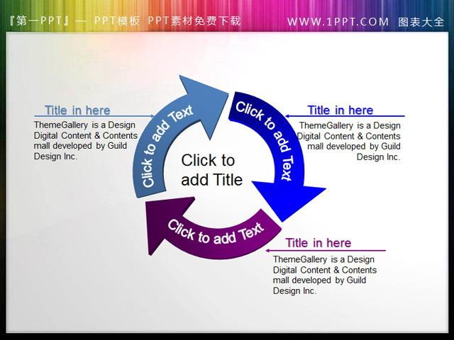 循环箭头ppt素材下载,三个不同颜色不同方向的ppt箭头循环指向,构成