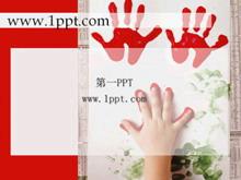 油漆手印艺术PPT背景模板下载