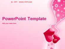 粉色浪漫爱心背景爱情PPT模板