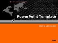 经典黑色橙色世界地图PPT模板