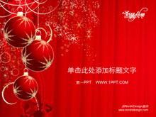红色彩球圣诞节幻灯片模板