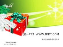 绿色背景红色礼盒的圣诞节PPT模板