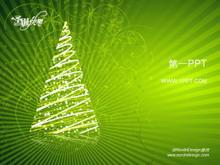 绿色花纹背景圣诞节PPT模板下载