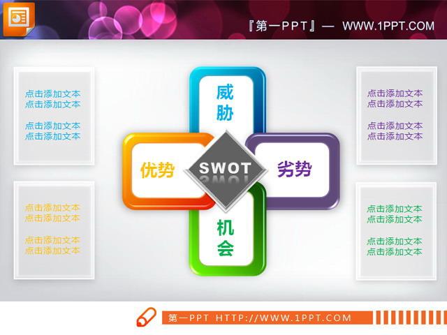 ppt模板结构图_SWOT结构分析PPT说明图图表模板 - 第一PPT