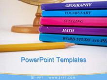 书本铅笔背景PPT教育学习模板