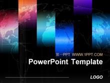 时尚世界地图背景PPT模板下载
