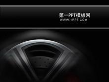 黑色汽车轮胎背景PPT模板下载