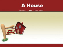 卡通小房子背景PPT模板下载