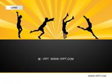 黑色背景体育运动PPT模板下载