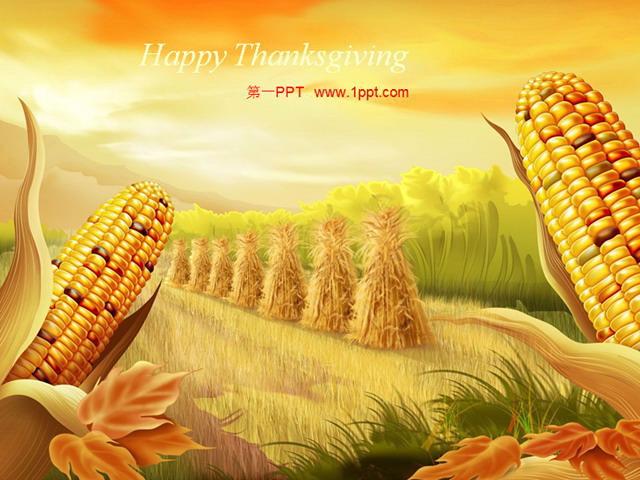 秋天玉米丰收了幻灯片模板下载 - 第一ppt图片