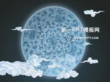 淡雅青花瓷背景中���LPPT模板