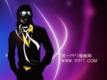 紫色炫彩迈克尔杰克逊背景艺术幻灯片