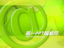 绿色@符号网络科技PPT模板下载