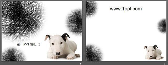 可爱的斑点狗背景ppt模板下载图片
