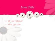 粉色向日葵背景�矍�PPT模板下�d
