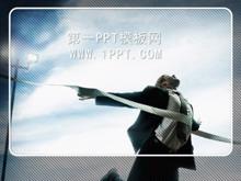 奔向终点蓝色商务PPT模板下载
