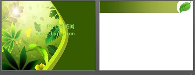 树叶背景清新艺术ppt模板下载,关键词:绿色ppt背景,树叶ppt背景图片