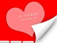 红色爱心背景爱情PPT模板下载
