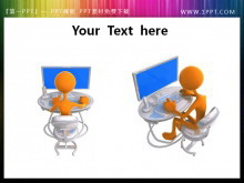坐在电脑前工作的3d小人PPT素材下载