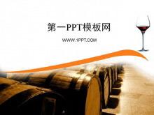 简单的红酒背景PPT模板下载