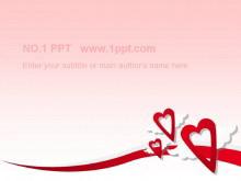粉色爱心背景浪漫爱情PPT模板下载