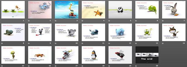 可爱的立体动物幻灯片背景图片下载 - 第一ppt