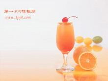 橙汁饮料背景餐饮美食PPT模板下载