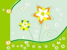绿色卡通花朵背景幻灯片模板下载