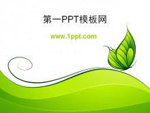 简洁卡通的绿蝴蝶背景PPT模板下载