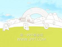 淡雅卡通教育PPT模板下载