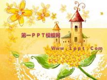 秋天的城堡艺术卡通PPT模板