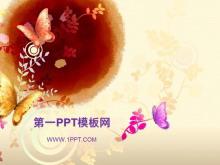 精美蝴蝶背景艺术PPT模板下载
