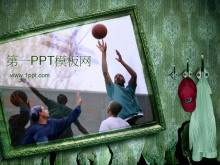 街头篮球背景体育运动PPT模板下载