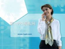 在打电话的外国女士背景商务PPT模板下载