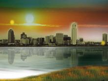 朝阳下的城市PPT模板下载