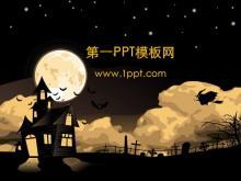 夜空飞过的巫婆卡通PPT背景图片