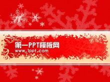 红色雪花背景圣诞节PPT模板下载