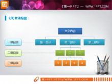 简洁的组织结构图PPT图表素材下载
