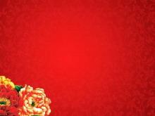 红色富贵牡丹新年幻灯片背景图片