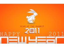 橙色兔年新年幻灯片模板下载