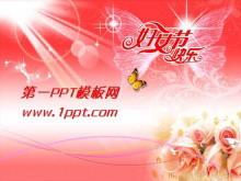 粉色三八妇女节快乐幻灯片模板下载