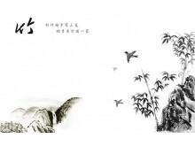 黑白色的竹林云雀背景中国风PowerPoint模板