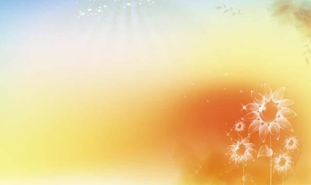唯美艺术ppt背景图片,蓝色 橙色 黄色的背景色,右下角为透明风格的