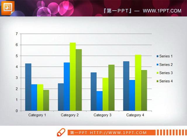 ppt图表模板 四部分数据对比分析ppt柱状图素材下载